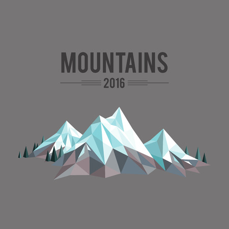 snowcapped: Polygonal abstract snow-capped mountains on grey background Illustration