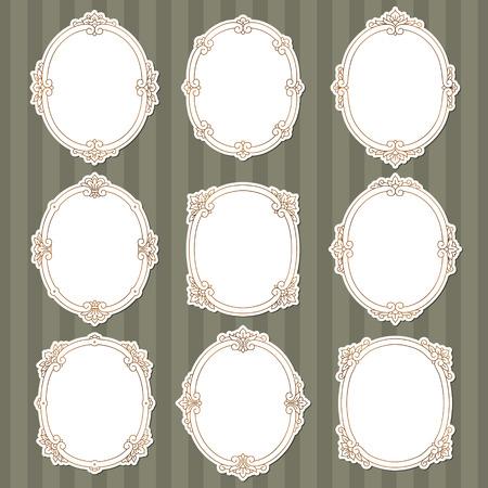 ovalo: Conjunto de bastidores de la vendimia en estilo victoriano para su diseño.