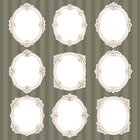 oval: Set of vintage frames in Victorian style  for your design.