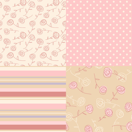 retro wallpaper: Set of cute Vintage ornaments in pink. Simple seamless patterns for your design