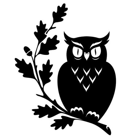 Owl sitting on the oak branch. Black illustration isolated on white background