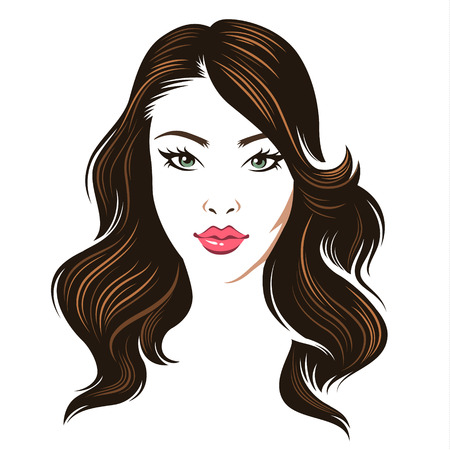 brunet: Head of a young beauty woman with dark styled hair isolated on white background. Color illustration Illustration