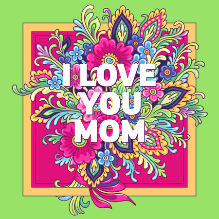 love mom: Postcard I love you mom with a bouquet of flowers on a pink and green background Illustration