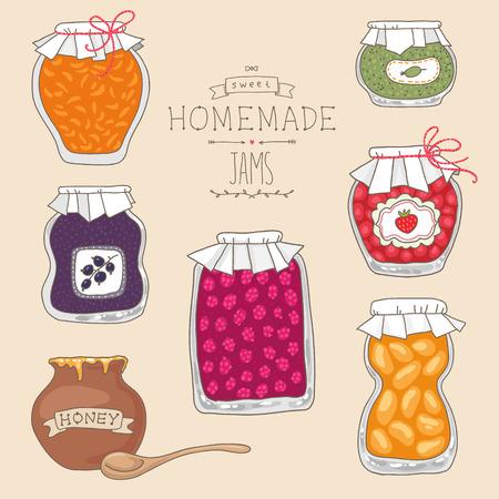 glass jars: Set of tasty home made jams in glass jars