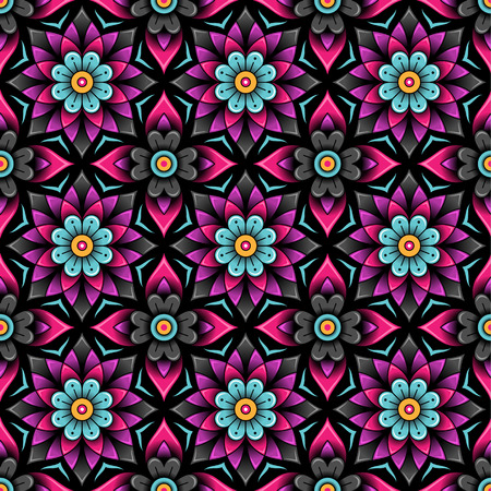 black background abstract: Marrakesh floral rosettes on black background. Abstract seamless pattern for your design