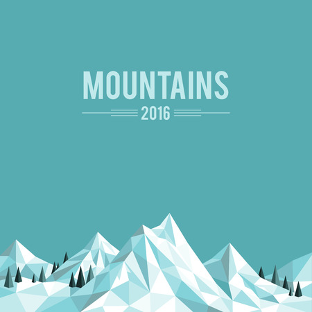 Polygonal abstract snow-capped mountains on blue background