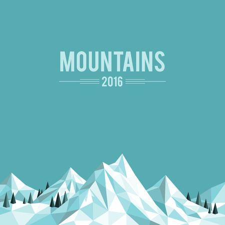 Veelhoekige abstracte besneeuwde bergen op blauwe achtergrond