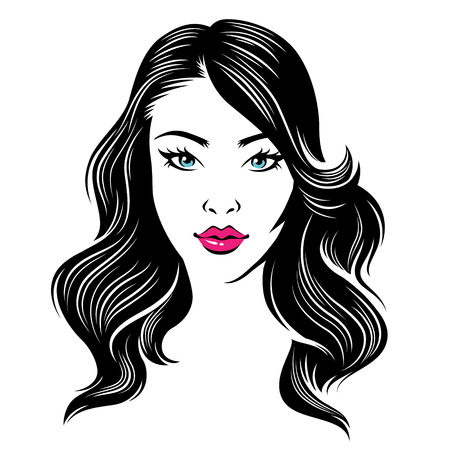 Cabeza de una mujer joven de la belleza con el pelo oscuro de estilo aislado en el fondo blanco Ilustración de vector