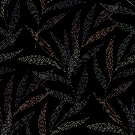 weeping willow tree: Palm branches on black background. seamless pattern for your design