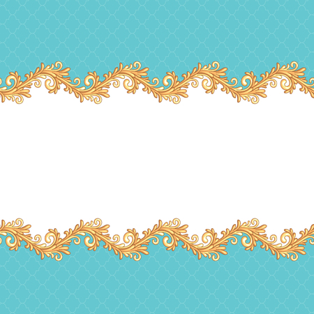 pompous: Victorian style background with gold borders for your design and decoration