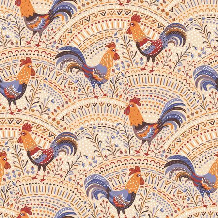 beige background: Cute roosters in floral ornament on a beige background. Seamless pattern for your design