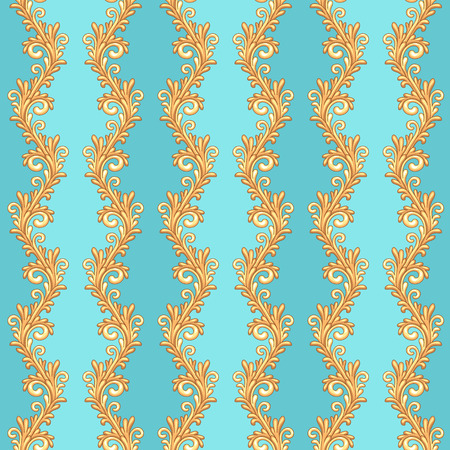 pompous: Victorian seamless pattern with gold borders on blue background Illustration
