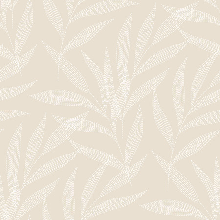 weeping willow tree: White palm branches on beige background. seamless pattern for your design