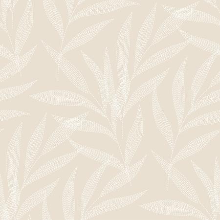 Witte palmtakken op beige achtergrond. naadloos patroon voor uw ontwerp