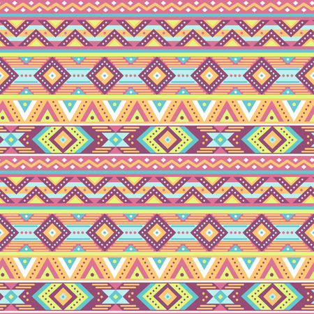 south american: Ethnic boho seamless pattern for textile and design. Tribal ornament on pink background