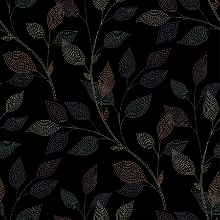 black branch: Branch with leaves on black background. seamless pattern for your design Illustration