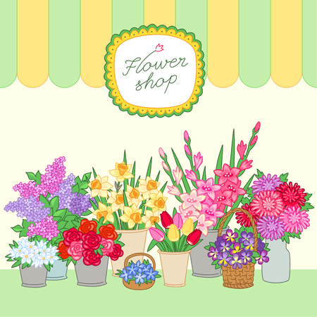 florist shop: Bouquets for sale at the flower shop on light background. Vector illustration