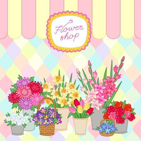 Bouquets à vendre au fleuriste sur fond multicolore. Illustration vectorielle Vecteurs