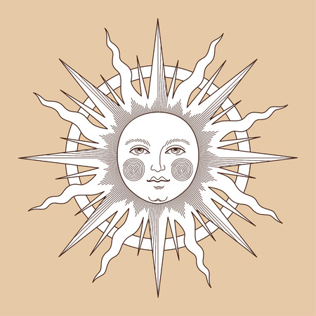 Le soleil avec le visage, illustration vintage pour la décoration de la carte