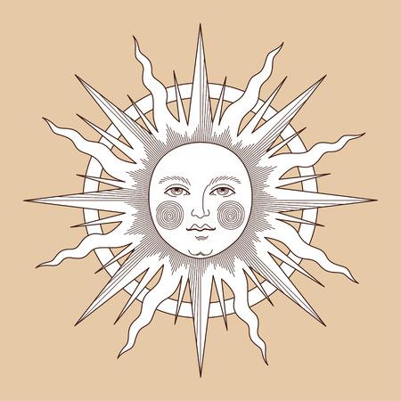 Il sole con il viso, illustrazione d'epoca per la decorazione della carta