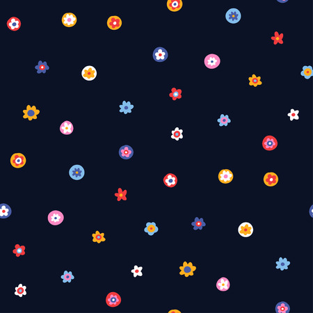 Multicolor ornament of small simple flowers on dark blue background, Seamless pattern for design and textile