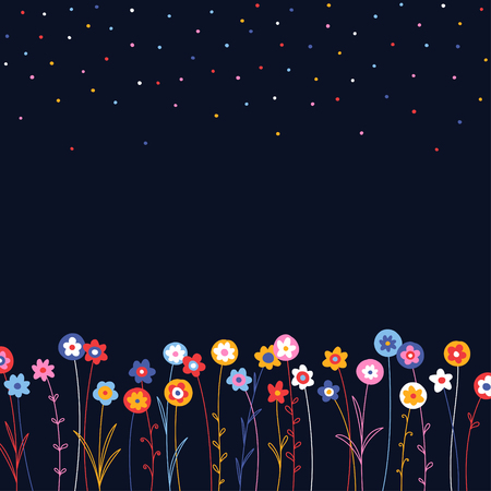 herbage: Field of small simple flowers on dark blue background, abstract background for your design Illustration