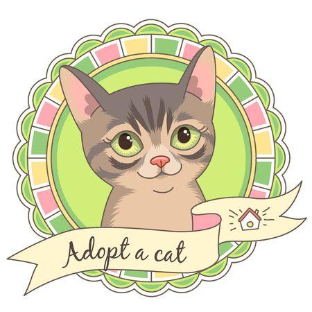 animal shelter: Cute tabby kitten in round frame isolated on white. Illustration or emblem for animal shelter