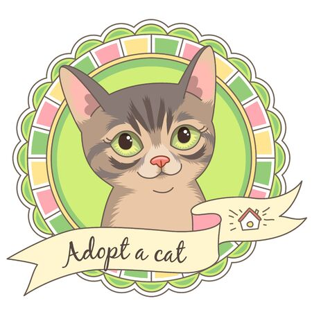 Cute tabby kitten in round frame isolated on white. Illustration or emblem for animal shelter