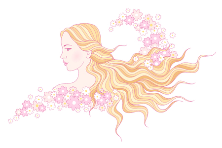 wavy hair: Portrait of beautiful young girl with long wavy hair in floral wave. Illustration for your design isolated on white background