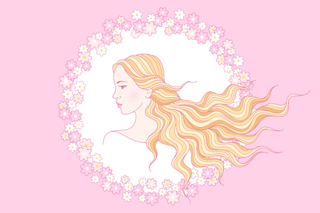 caucasians: Portrait of beauty young girl with long wavy hair in round floral frame. Illustration for your design