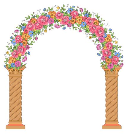 ラウンド花のアーチは、白い背景で隔離。結婚式のデザインと装飾のための美しい弧