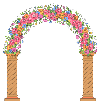 arch: Round floral archway isolated on white background. Beautiful arc for wedding design and decoration