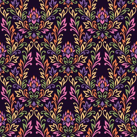 antique wallpaper: Floral seamless pattern on dark  background. Vector illustration for textile and design