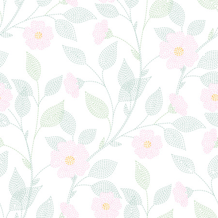 white flowers: Embroidered flowers and leaves on white background. Light seamless pattern for design and textile