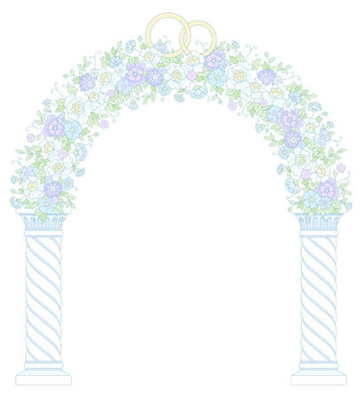 archway: Round floral archway isolated on white background. Beautiful arc for wedding design and decoration