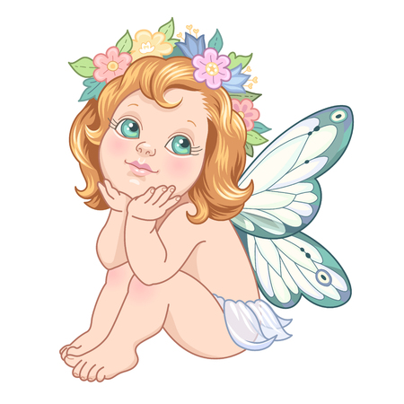 cute animal: Sitting little fairy. Cute cartoon character isolated on white background