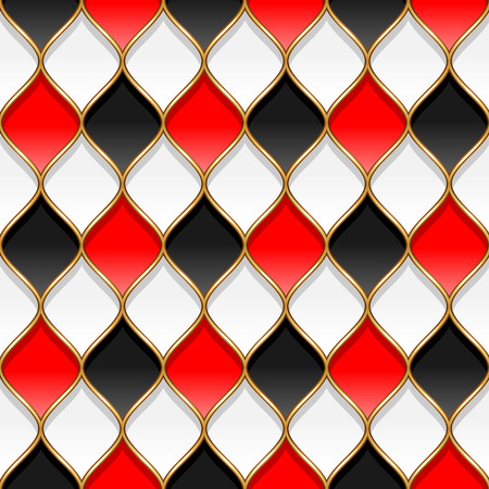 partitions: Red, black and white rhombuses with golden partitions. Abstract seamless pattern for design and textile Illustration