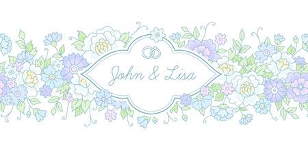 border vintage: Floral border with vintage label. Template card for wedding design and decoration