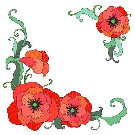 Rode papavers. Elegant floral hoeken voor het ontwerp en de decoratie op een witte achtergrond