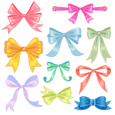 Collection of colorful bows isolated on white background