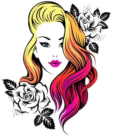 Young beautiful girl with coloring hair and flowers. Illustration for beauty salon isolated on white background