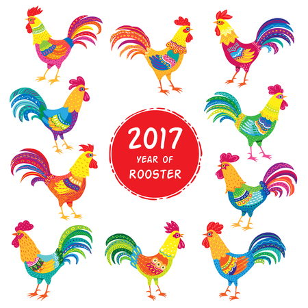 Collection of colorful roosters isolated on white background. Set for holiday design and decoration Ilustração