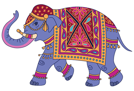 Blue Indian elephant decorated in traditional style. Vector illustration isolated on white background
