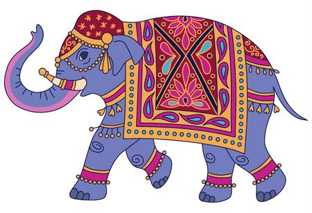 Niebieski słoń indyjski urządzony w tradycyjnym stylu. Ilustracja wektorowa na białym tle Ilustracje wektorowe