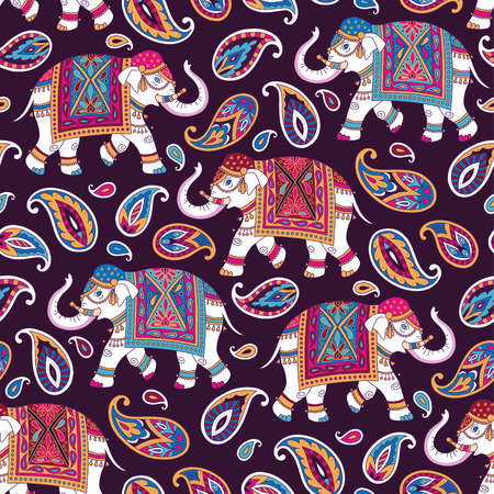 Indian style ornament  with elefpants and paisleys on dark background. Seamless pattern for textile and decoration   イラスト・ベクター素材