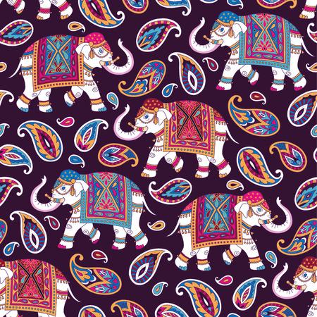 Indische Artverzierung mit elefpants und Paisleys auf dunklem Hintergrund. Nahtloses Muster für Gewebe und Dekoration