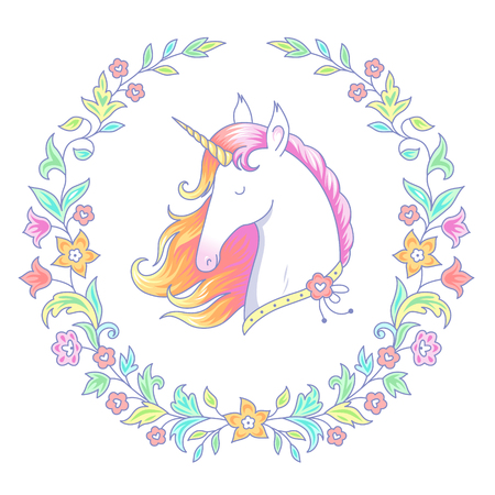 Head of white unicorn in round floral frame. Cartoon character isolated on white background