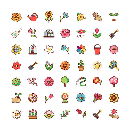 Collection of floral symbols and flowers for design and decoration. Set of cartoon icons isolated on white background.