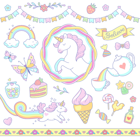Cartoon unicorns, sweets, rainbow isolated on white background. Set of cute  symbols and design elements for scrapbooking,  and decoration.