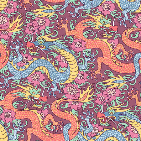 Blue and red dragons fighting in flowers. Seamless pattern for textile and decoration